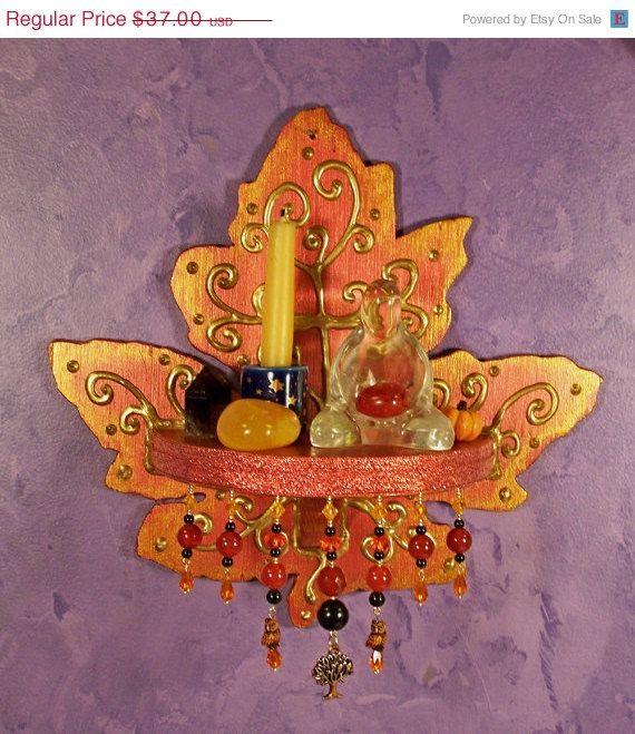 Leaf wall altar ooak decor altars decor and etsy for Altar wall decoration