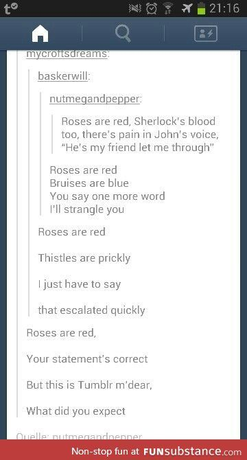 Here is some Sherlock funny<<Funny? I disagree while the may be amusing the rhyme certainly isn't