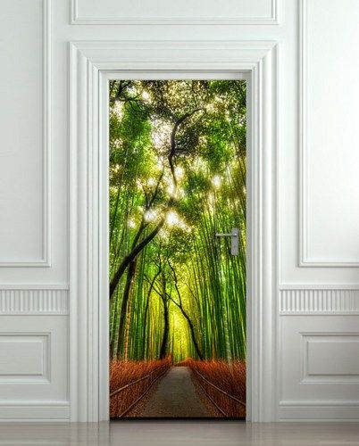 Door wall sticker cover bamboo forest green trees way by for Bamboo forest wall mural