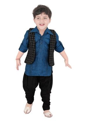 Shoot Out Boys Kurta Jodhpuri Churidar Set Black Blue 300x420 5x7