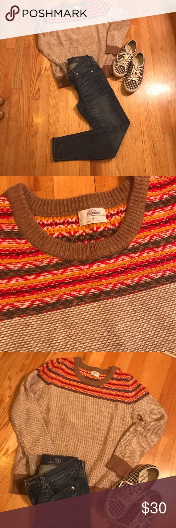 Madewell cozy ski sweater! Madewell Wallace sweater! I love this sweater and the 70s vibe. I've recently learned despite my love of orange and purple I should not wear those colors :/ pair with classic toothpick jeans (also listed for sale) and cute sneaks! Madewell Sweaters Crew & Scoop Necks
