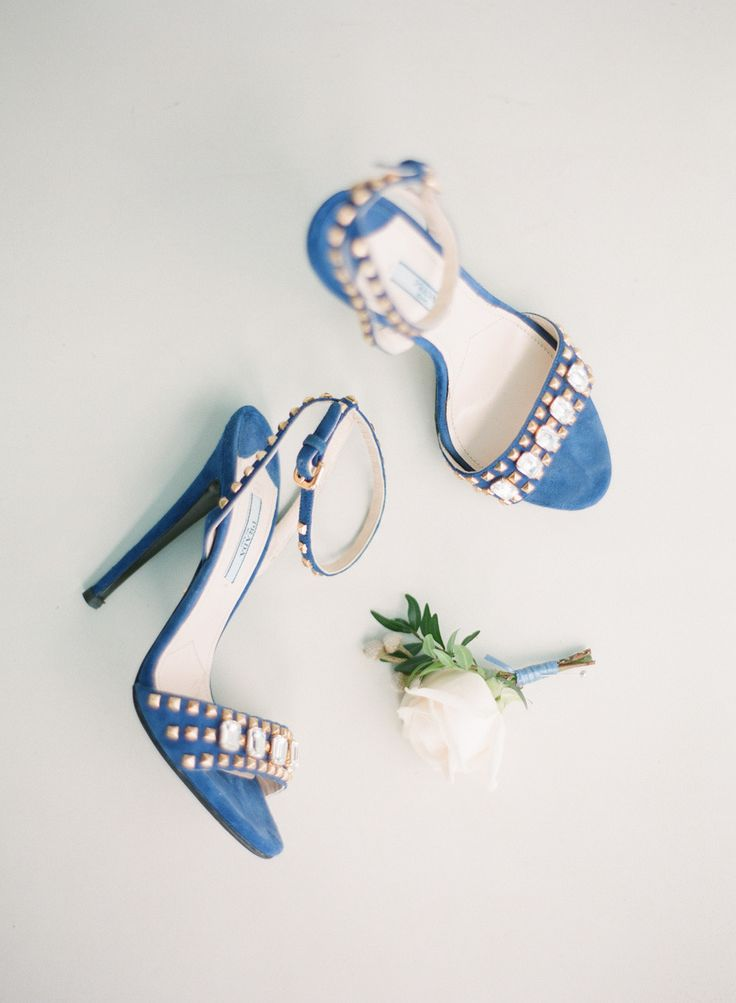 gorgeous blue studded bridal heels | Photography: Greg Finck - www.gregfinck.com | fabmood.com: