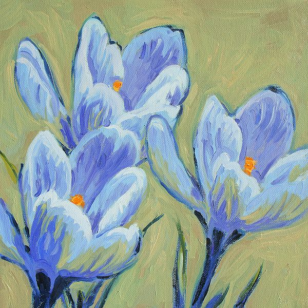 Blue Spring Crocus. Oil painting by Dusan Balara