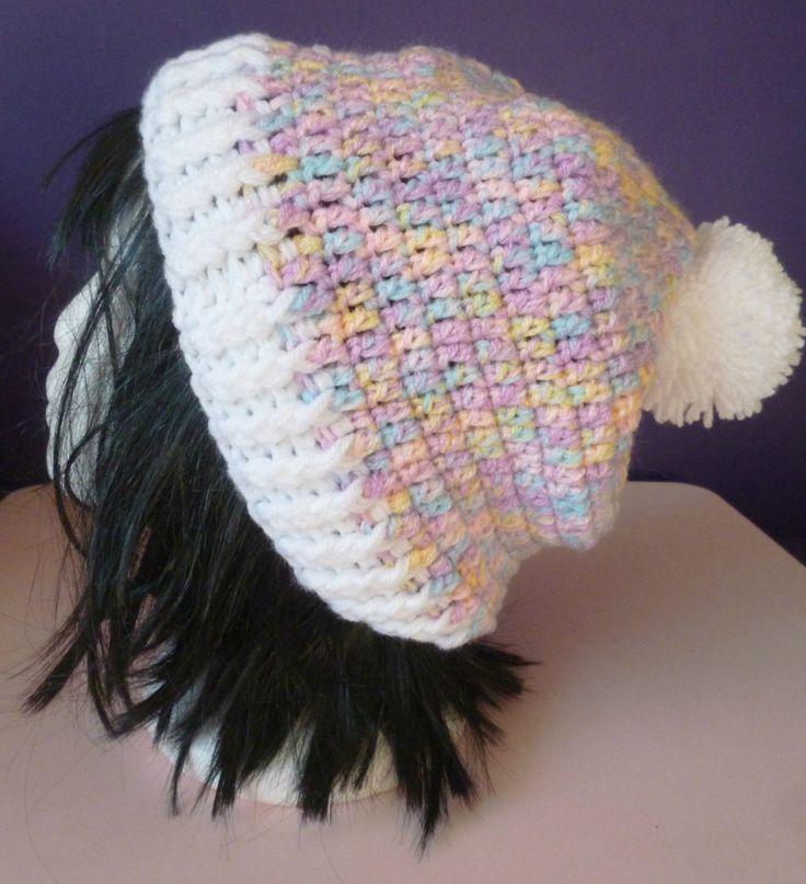 ladies crochet hat, pastel hat, rainbow hat, pink hat, purple hat, winter hat, bobble hat, pom pom hat, slouch hat by UniquelySam on Etsy