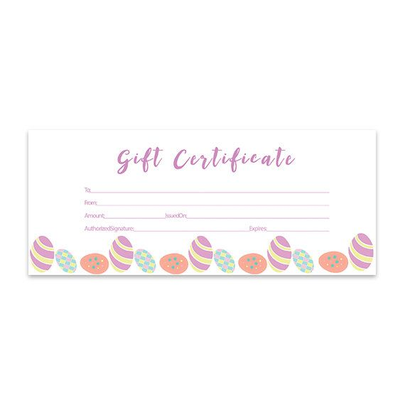 Easter Eggs Blank Gift Certificate, Download, Premade Gift Certificate, Gift  Certificate Template,  Cute Gift Certificate Template