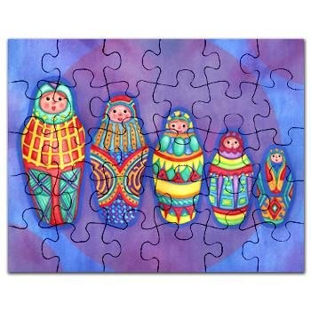 This colorful matryoshka dolls art print puzzle was originally painted in watercolor. These little ladies are cute and unique. #cafepress #MatryoshkaDolls