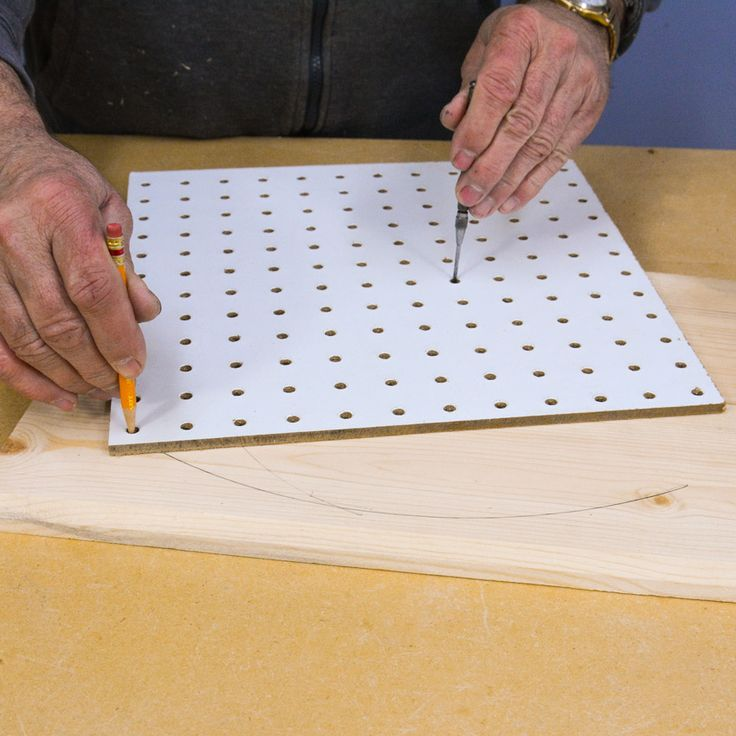Everyone is familiar with Peg Board. I don't see it used so much these days but it's still readily available in most hardware stores and many of us have a few pieces floating around. The first trick with pegboard is to use it to cut arcs or circles. I am often needing to cut circles out of wood for one thing or another and my compass is fine for small circles but larger ones need larger solutions. #woodworking #lifehack