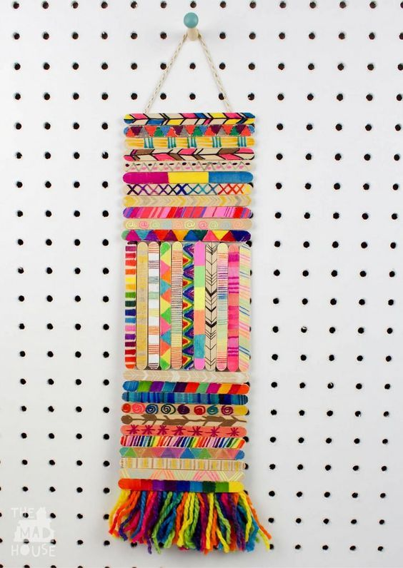 Craft Stick Wall Hanging | Art for Kids | Fun collaborative art project or perfect for making over a period of time.