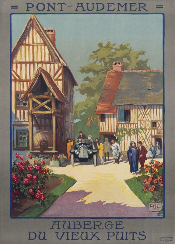 """Charles Hallo (""""Alo"""") Poster: Pont-Audemer Auberge du Vieux Puits"""