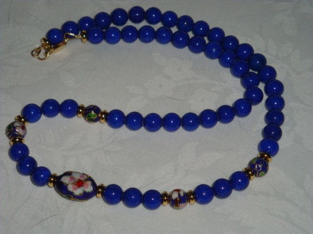 20 1/2 INCH LONG BLUE MOUNTAIN JADE WITH CLOISONNE BEADS.  JUST BEAUTIFUL! fashion jewellery