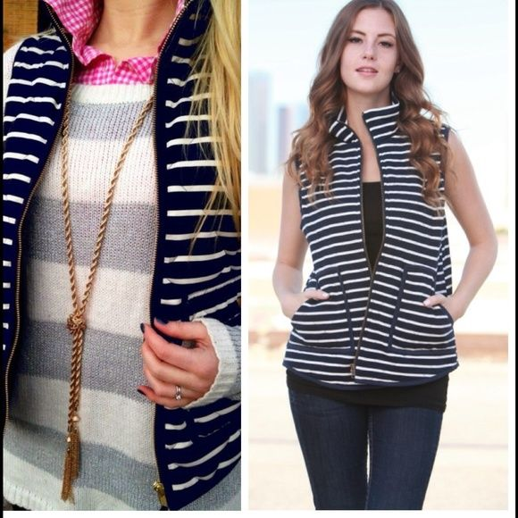 NAVY BLUE & WHITE STRIPED NAUTICAL ZIP UP VEST Striped puffer vest.  Lowest prices are listed upfront. Small bust measures 36 inches, length 24.5 inches. Medium bust 37 inches, length 25 inches. Large bust 38 inches, length 25 inches.  Material is 70% cotton and 30% poly. Has a nice thick texture.  First two photos the left photo is for styling inspiration.  Actual vest on the right. Jackets & Coats
