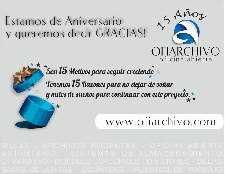El 2014 es un Año de Celebración. OFIARCHIVO 15 AÑOS