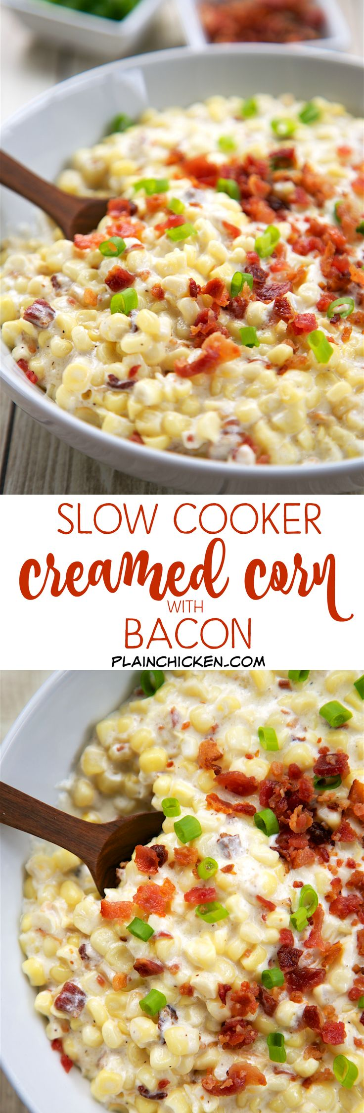 Slow Cooker Creamed Corn with Bacon - Corn, cream cheese, heavy cream, milk, bacon and green onions. YUM! It is super creamy with a hint of smokiness from the bacon. This recipe makes a lot and would be great for a potluck. This is seriously THE BEST corn recipe! I could have made a meal out of this! SO good!