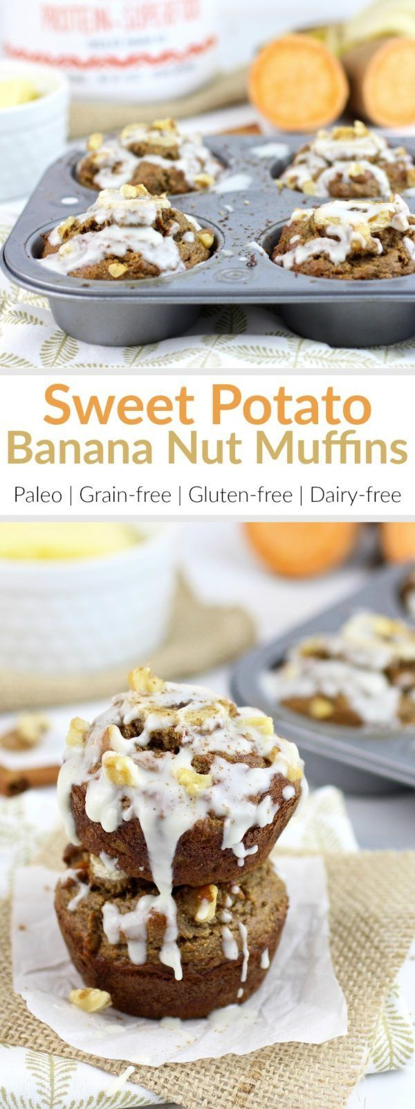 Leftover sweet potatoes and ripe bananas come together to create these perfectly-textured, high-protein, Paleo-friendly, Grain-free Sweet Potato Banana Nut Muffins | therealfoodrds.com