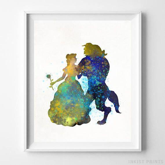 Beauty And The Beast Disney Print Disney Princess Watercolour