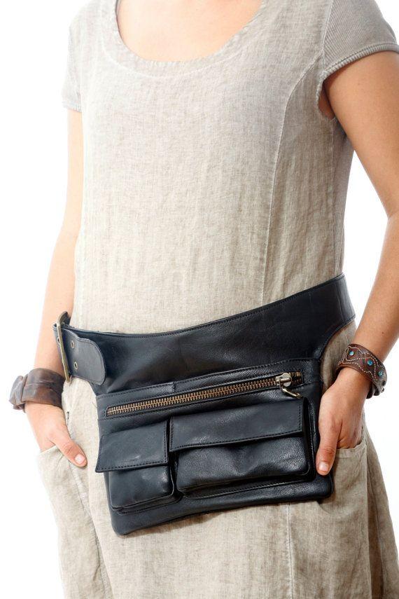 Black Leather Hip Bag bum bag fanny pack travel pouch belt