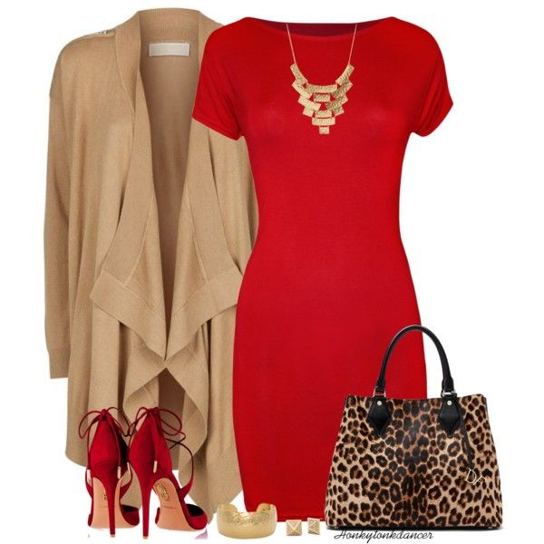 Red Dress And Cardigan by honkytonkdancer on Polyvore featuring moda, WearAll, MICHAEL Michael Kors, Aquazzura, Diane Von Furstenberg, Charlotte Russe, reddress, leopardbag and hammeredjewelry