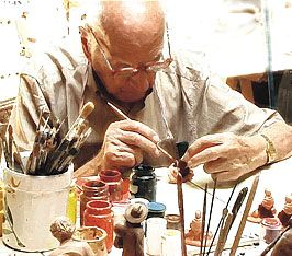 Marcel Carbonel painting a Santons. Marcel Carbonel Santons Available at www.mygrowingtraditions.com