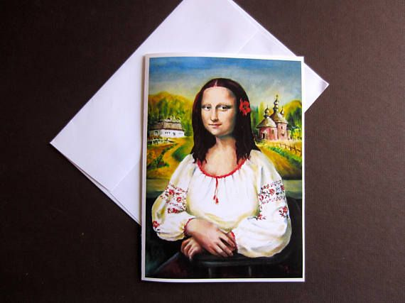 Ukrainian Mona Lisa greeting card 5 x 7 art print card hand