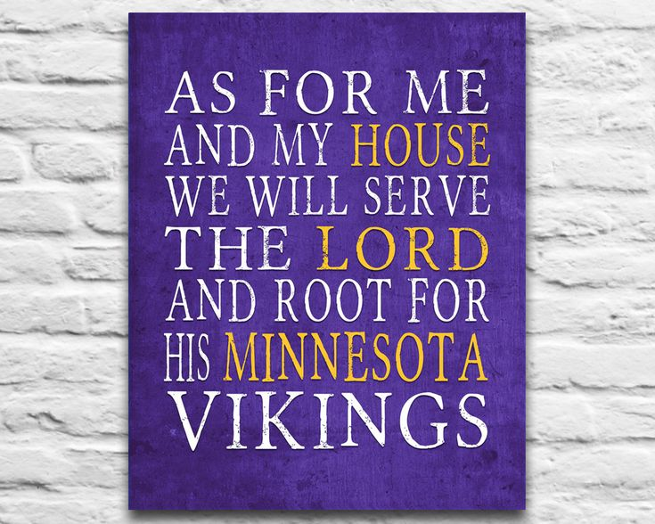 "Minnesota Vikings football inspired Personalized Customized Art Print- ""As for Me"" Parody- Unframed Print"