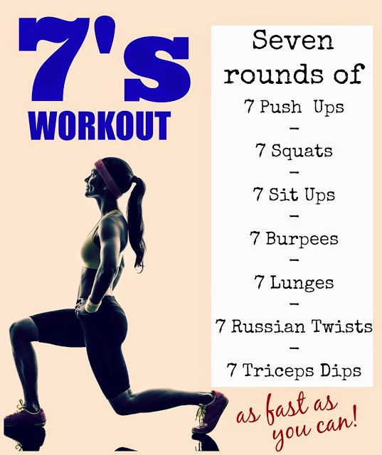 Amazing at-home strength and cardio burner! 7 reps of 7 exercises, 7 times as fast as you can! #workout from Tone-and-Tighten.com