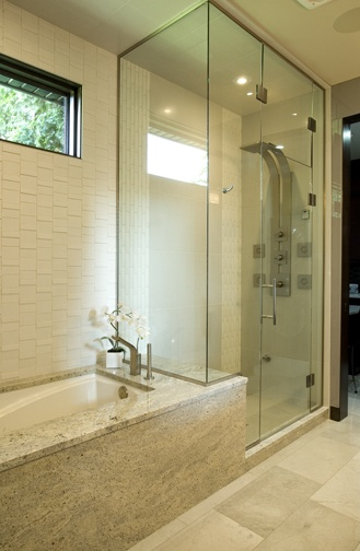 Tiled Shower And Tub Deck In Ensuite.