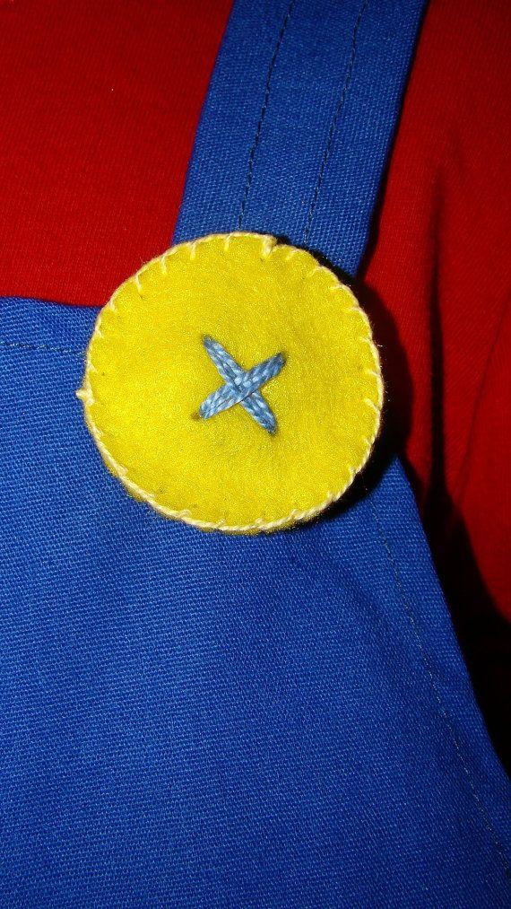4 Yellow Felt  Buttons -  Mario & Luigi  (Super Mario Brothers) - Halloween