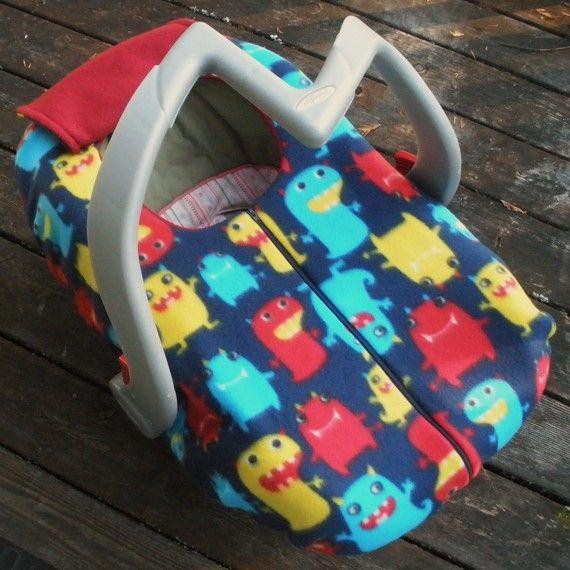 Baby Car Seat Cover, Soft Warm Fleece, Winter Geekery - happy little monsters by sophiemarie