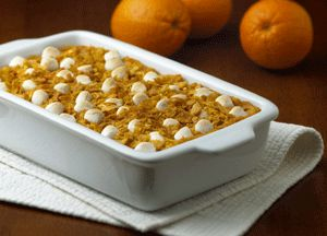 A long-time holiday favorite--sweet potato casserole topped with Kellogg's Corn Flakes® cereal and sweet miniature marshmallows.
