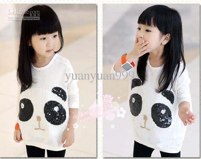 girls Korean version new baby kit lens sequins cute panda bat sleeve hoodie#5523