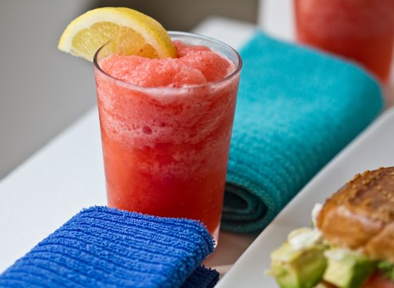 Frozen strawberry lemonade. With big fun straws!  Covers lemonade and snow cones with a healthy kick.