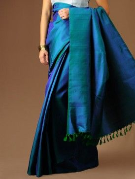 Blue-Green Kanchipuram Silk Saree