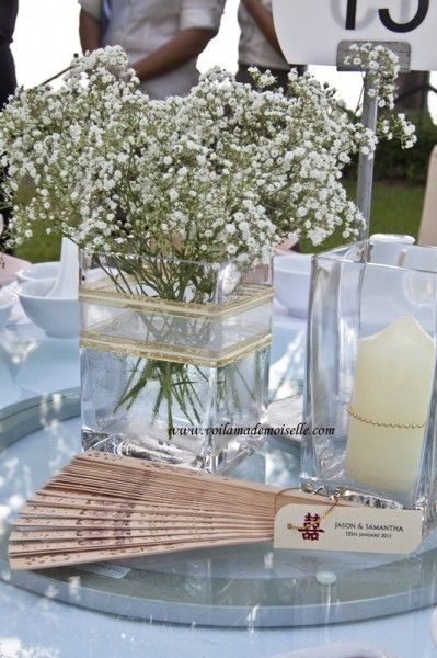 Centerpiece idea dollar store vase with babys breath and