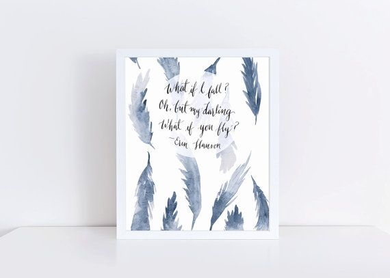 Dusty Blue Watercolor Feathers Print 8x10 'What if by RomyStudios