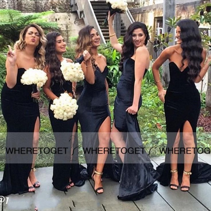 Black Long Bridesmaid Dresses 2016 Mermaid Sweetheart Backless Simple Cheap Sexy High Slit Long Formal Dresses Maid Of Honors For Wedding Online with $79.59/Piece on Wheretoget's Store | DHgate.com