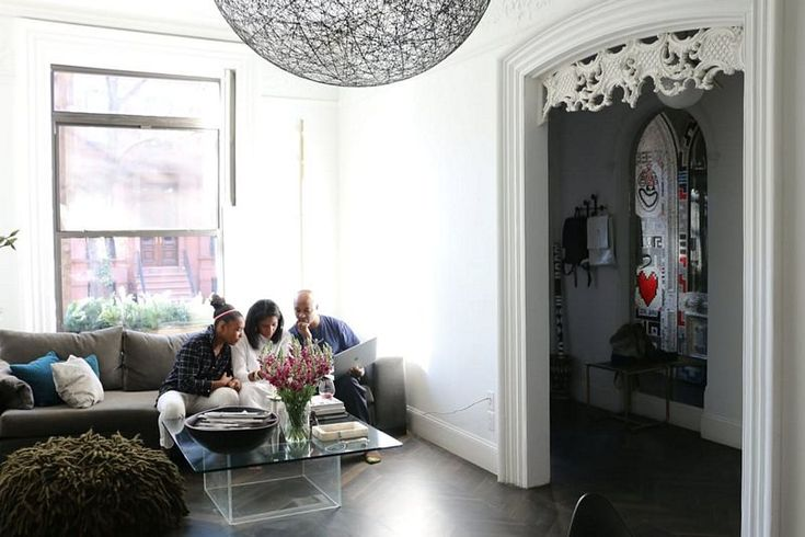House tour-A Designer, A Dancer & Their Daughters in a Modern Brooklyn Brownstone #bedroom #dinning room #fireplace #living room #stair