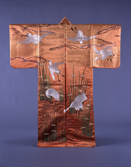 Nuihaku, Design of herons and bulrushes on  crimson groundEdo period, 1858National Noh Theatre Collection