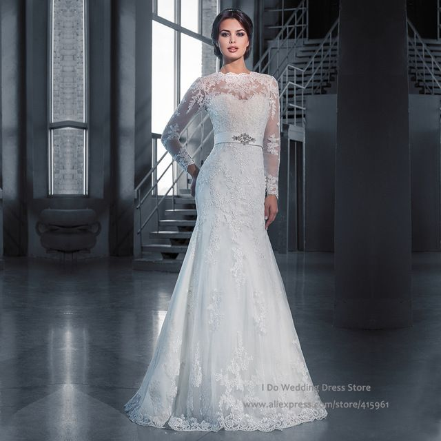 Robe De Soriee New Simple Wedding Dress Full Sleeve Lace: Ivory Vintage Winter Full Long Sleeve Bridal Dresses Lace