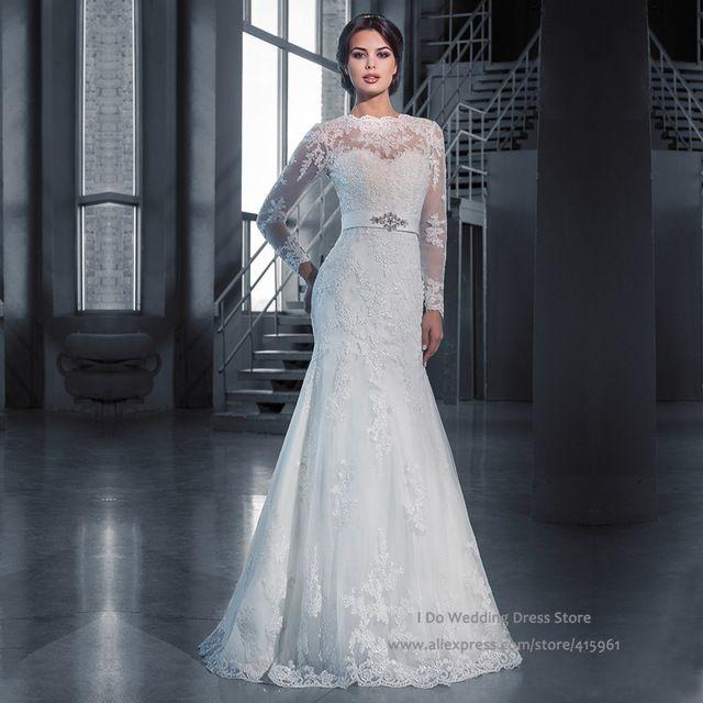 Ivory vintage winter full long sleeve bridal dresses lace for Winter mermaid wedding dresses