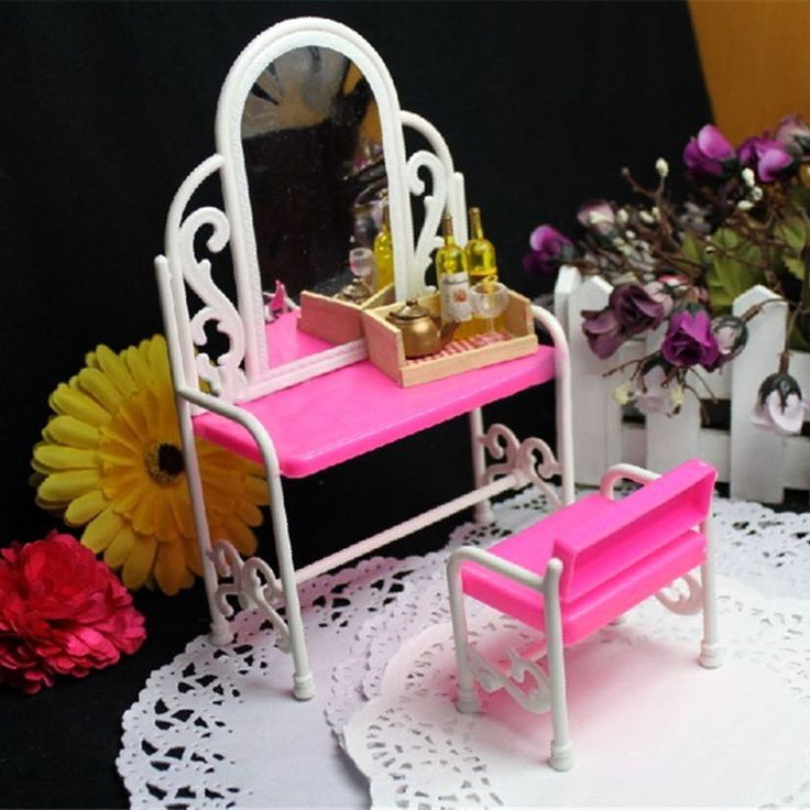 Pink Dressing Table & Chair Accessories Set For Barbies Dolls Bedroom Furniture #Unbranded