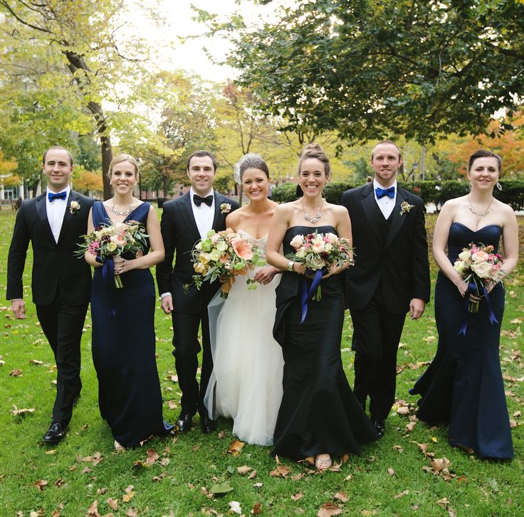Navy blue and black bridal party color scheme | Lindsay Hite of Readyluck | Brides.com