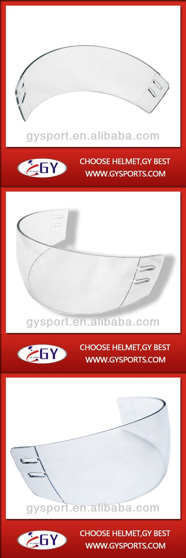 2015 CE Approval clear hockey helmet visor made with PC hot sale ice hockey equipment