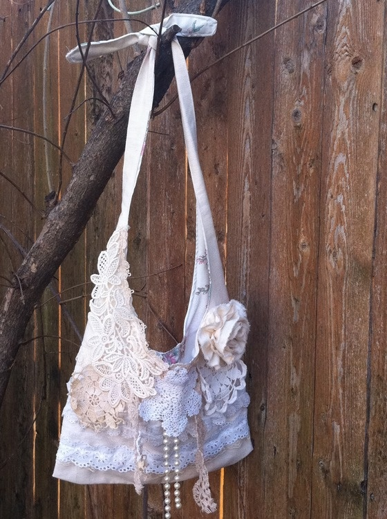 Copious: Gorgeous Shabby Chic Purse by FAITHandLACE Vintage doilies, lace, pearls