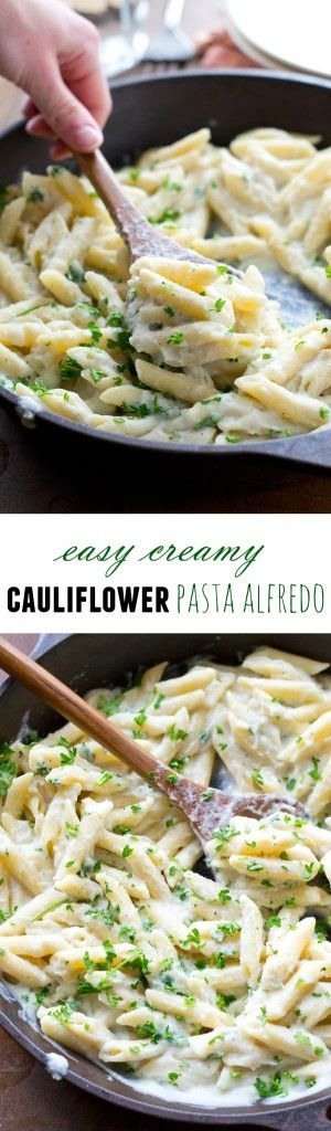 Indulge in a creamy, flavorful, and oh-so-comforting classic pasta alfredo without all the calories with this skinny version featuring cauliflower! NO cream or butter in this cozy pasta! @WholeHeavenly