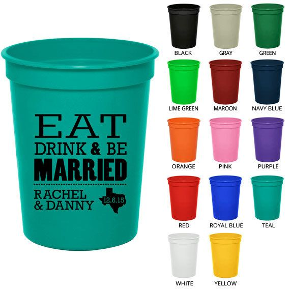 16 Oz Personalized Wedding Cups Clipart 1809 Eat By Mywedding 49 00