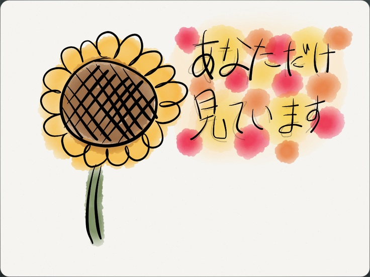 """In Japan, the meaning of sun flower is """"I'm only looking ..."""