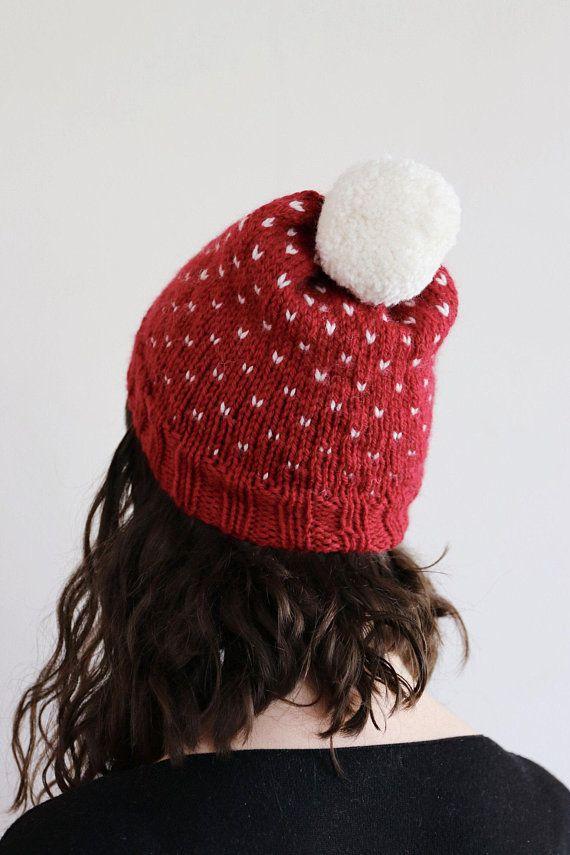 5f677522 Chunky Knit Hat, Pom pom Fair Isle Beanie, Slouchy Hand Made Hat ...