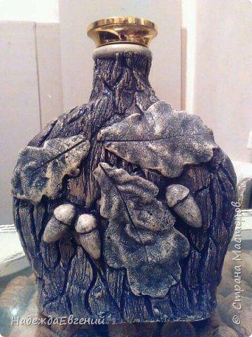 Декор предметов Декупаж Лепка Лесная сказка Бутылки стеклянные Гипс Клей Салфетки фото 2