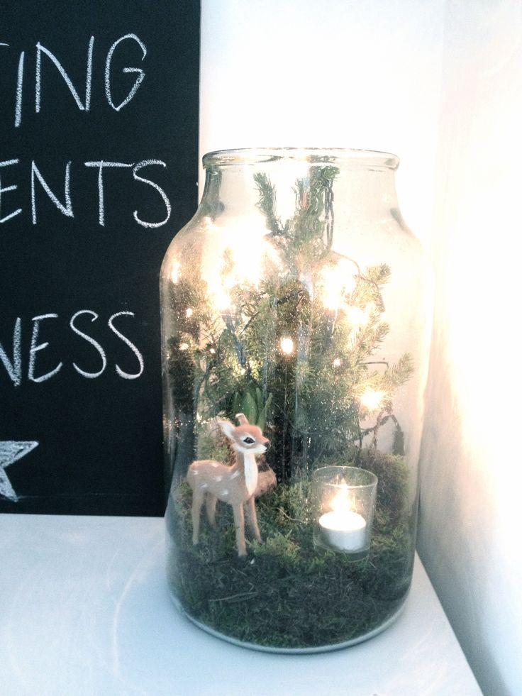 kerstdecoratie in glazen pot (mini kerstboompje)