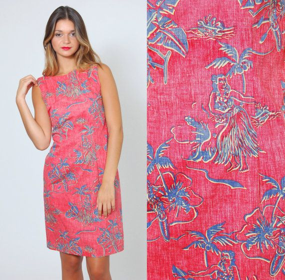 Vintage 90s HAWAIIAN Print Dress REYN SPOONER Shift Dress by LotusvintageNY